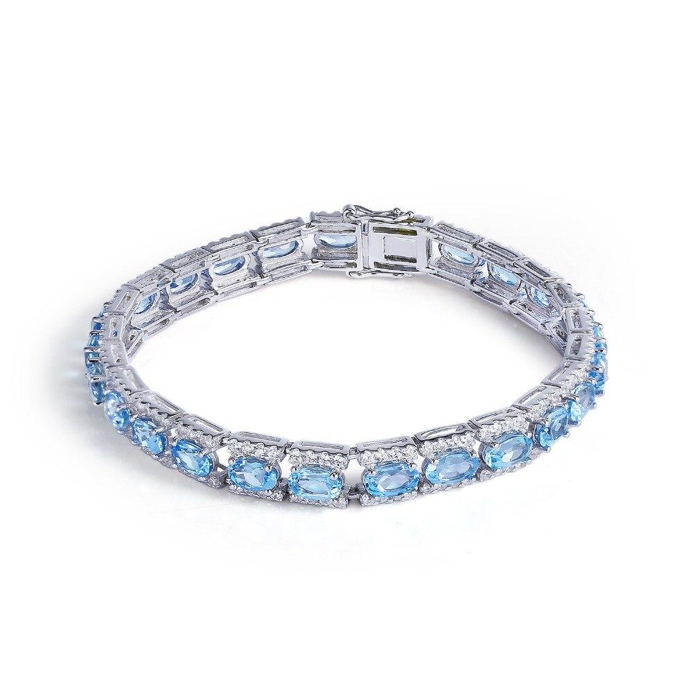 GEMS BALLET pulseras y brazaletes de plata de ley 925 joyería fina pulsera Topacio azul Natural pulseras plata de ley 925 mujer
