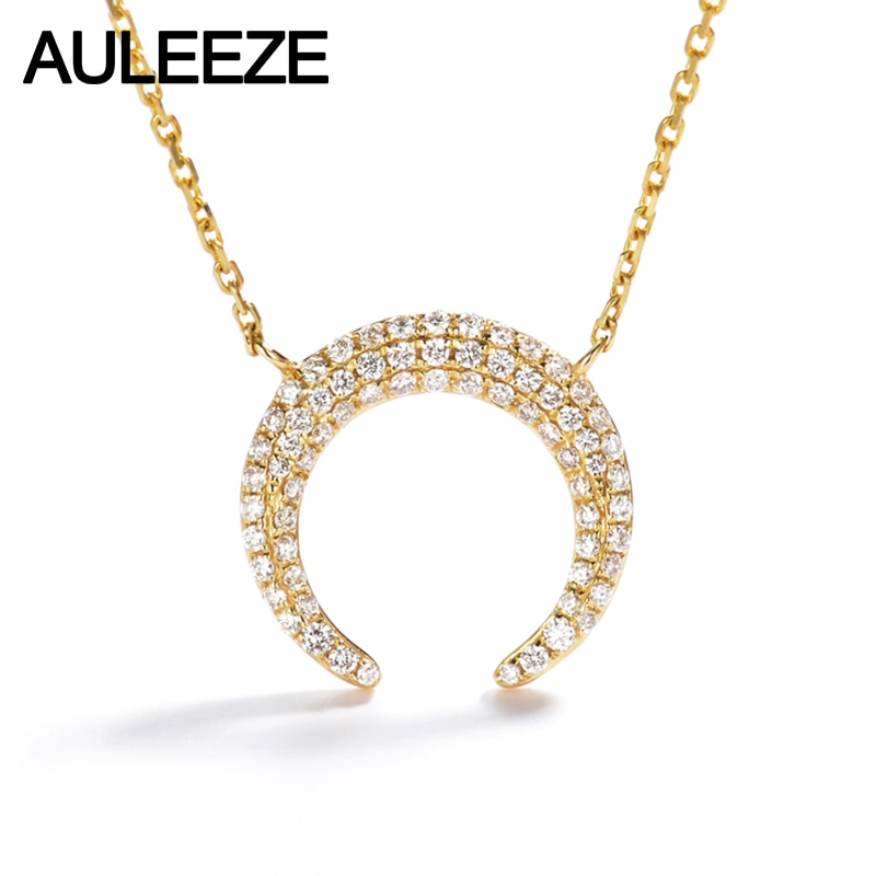AULEEZE Romântico Lua Pingente de Diamantes em Ouro 18 K Sólido Ouro Amarelo Natural Real Diamantes Pavimentar Conjunto Colar de Pingente