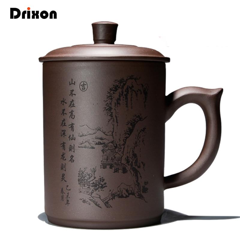 Drixon, taza de té de arcilla púrpura hecha a mano, tetera de agua, tetera de cerámica, olla de té de China, cafetera, regalo de cumpleaños
