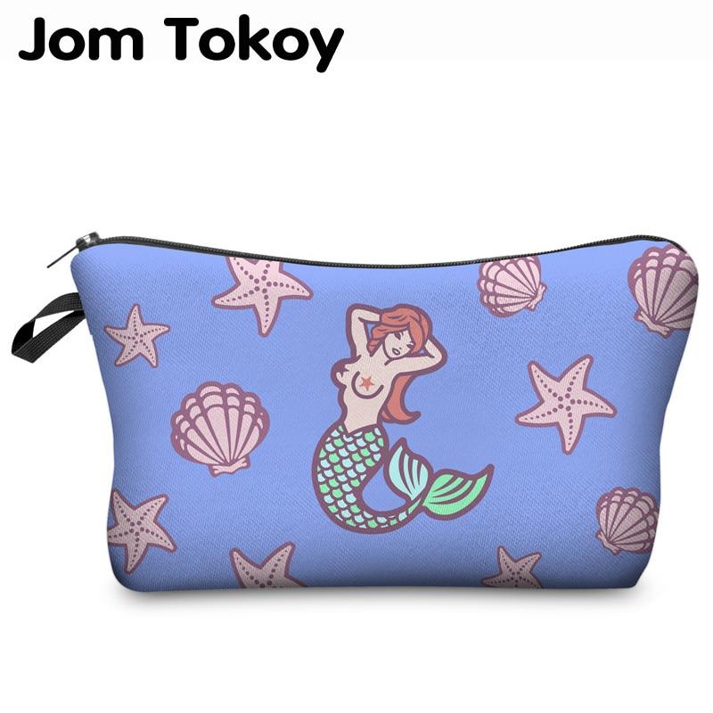 Jom Tokoy, bolsa de cosméticos con impresión 3D, bolsa de maquillaje de marca a la moda para mujer