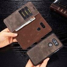 DG. MING Rétro En Cuir De Vachette étui pour LG V20 G6 V30 V30 plus coques de téléphone Détachable Flip Portefeuille Housse pour LG G7 ThinQ