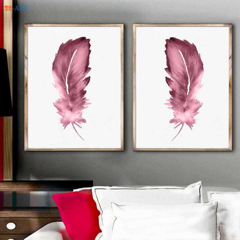 Картина на холсте в рамке, рисунок перьев, абстрактный рисунок животных, перо, розовая картина для детской комнаты, декор для детской комнат...