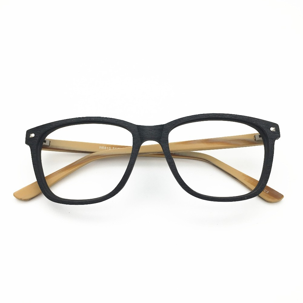 Gafas clásicas de acetato con diseño de madera para hombre y mujer