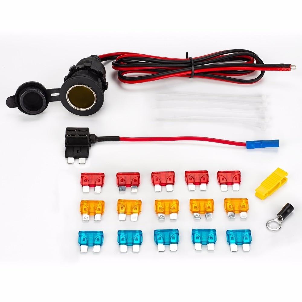 Universal DC12v impermeable enchufe de encendedor de coche Cable de extensión y fusible tap & 5A/10A/15A fusible y Cable tie kit completo M/S/MINI