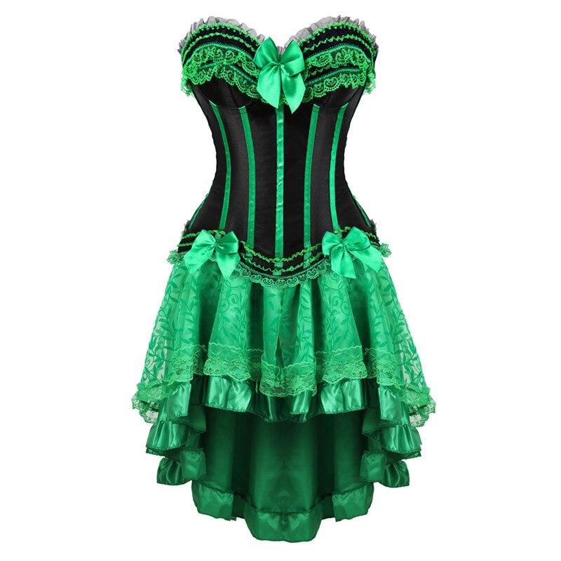 Vestidos corsé de encaje burlesque de talla grande Lencería zip bustier corset faldas para mujeres fiesta gótico lolita sexy verde korsett 6XL