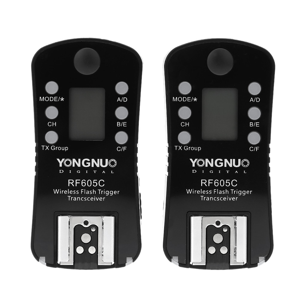 Disparador de flash inalámbrico YONGNUO RF605C y disparador de 16 canales con pantalla LCD para cámaras Canon con cable C1 C3