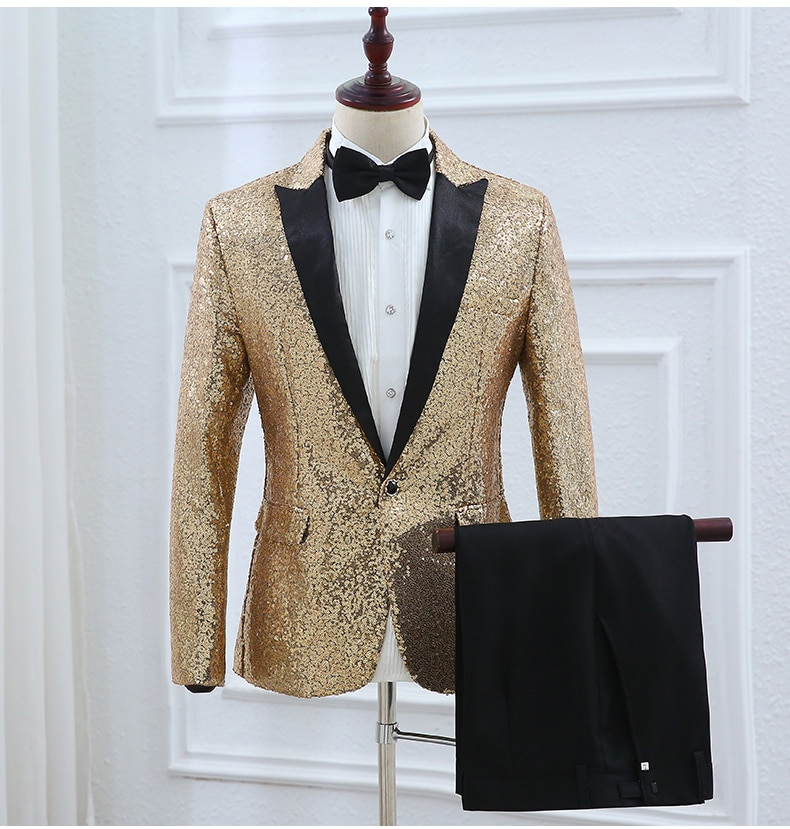 Sparkly lentejuelas completa moda Delgado Blazer pantalones trajes de boda anfitrión discoteca chaqueta cantante traje espectáculo equipo ropa