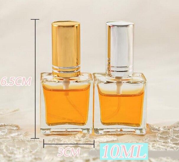 Botellas de Perfume cuadradas de 10ML con tapón plateado/frío, botellas de Perfume de cristal de 10 CC, envase de embalaje cosmético 100 unids/lote