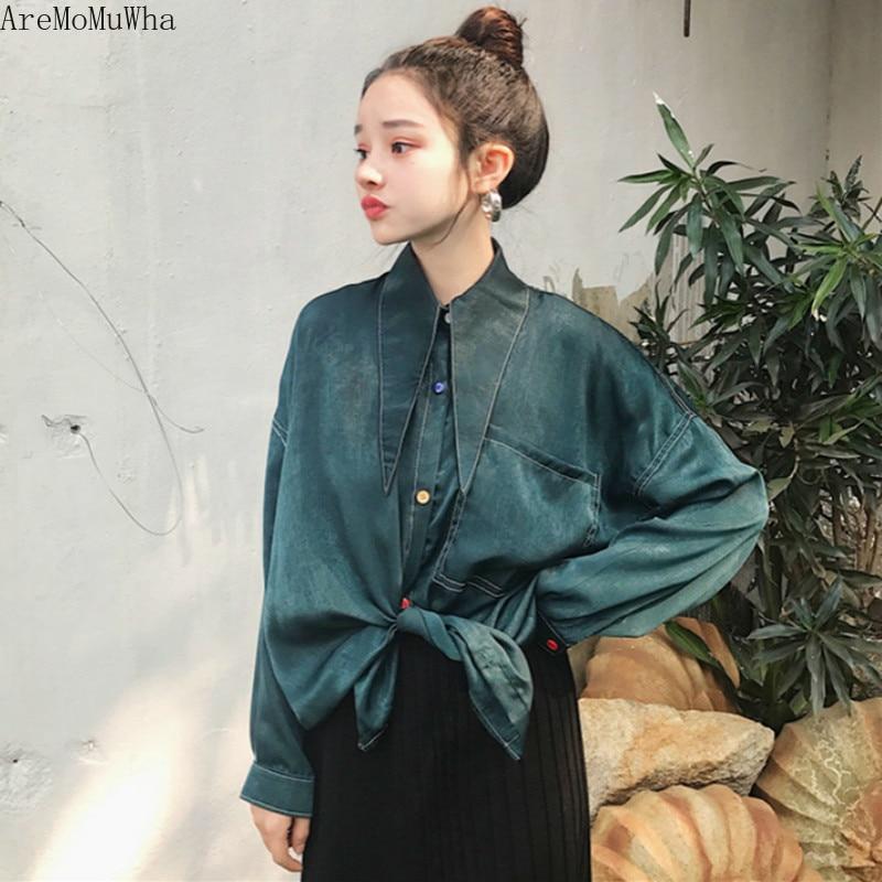 AreMoMuWha primavera y otoño nuevo Harajuku Retro Harajuku elegante estilo satinado con camisa de manga larga camisa abrigo Women804
