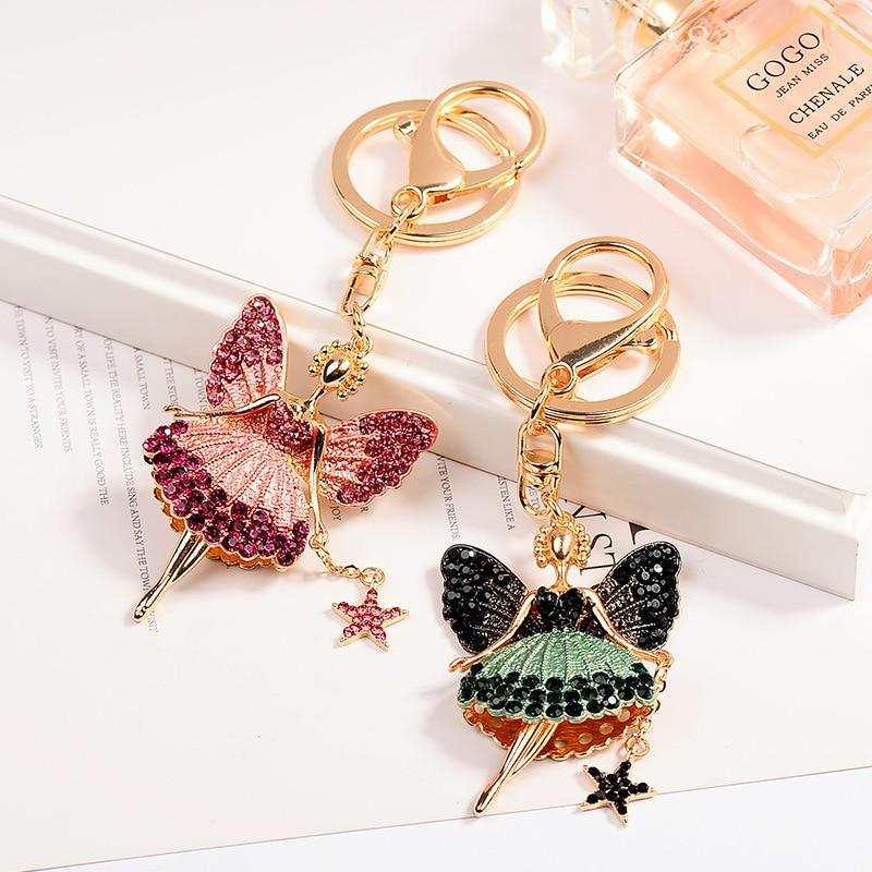 2018 nouveauté mignon ange porte-clés Ballet fille porte-clés chaîne pour les femmes sac pendentif à breloque mode cadeau voiture porte-clés