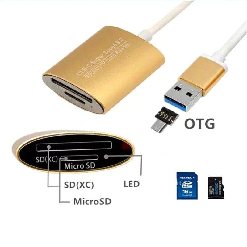 Lector de tarjetas SD tipo c USB 3,0/Android Phone SD/TF lector de tarjetas, lector de tarjetas de memoria, ordenador portátil 2 en 1, lector SD de aleación de aluminio y magnesio