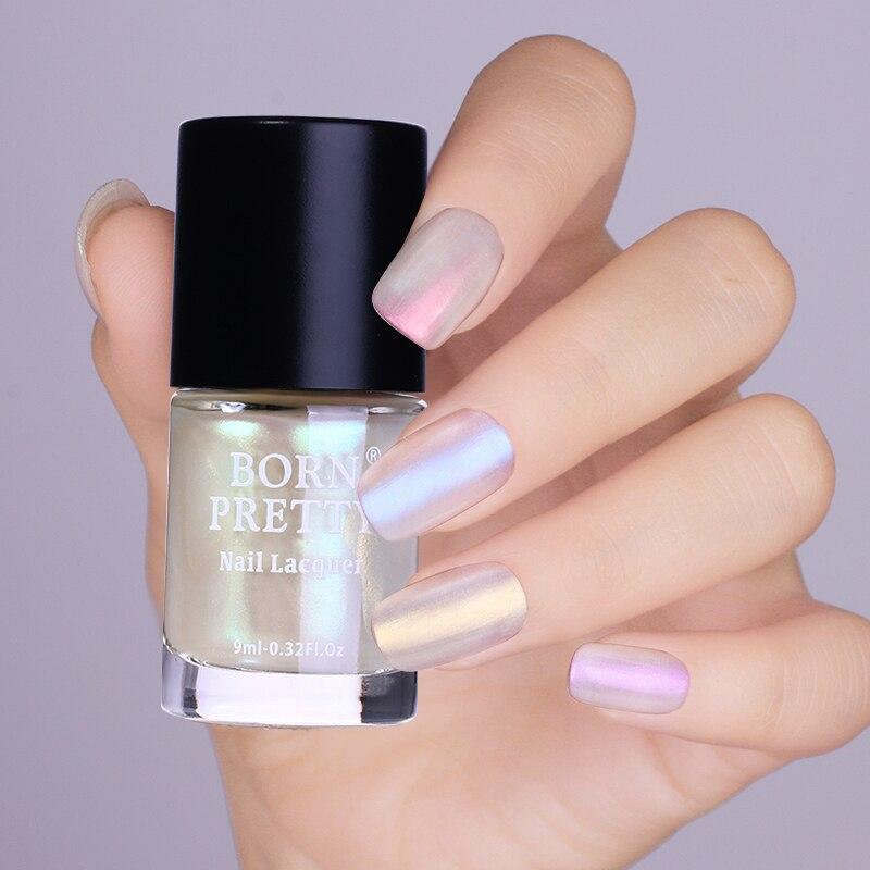 9ml nació muy transparente Shell brillo de esmalte de uñas brillante arte de uñas barniz polaco cromo