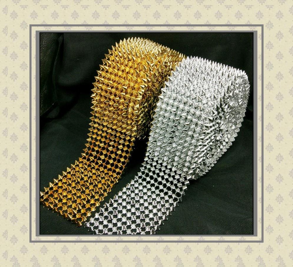 برشام خياطة ذهبي وفضي ، 5 ياردة/لفة ، مشغولات روك بانك للأحذية/الملابس/الحقائب