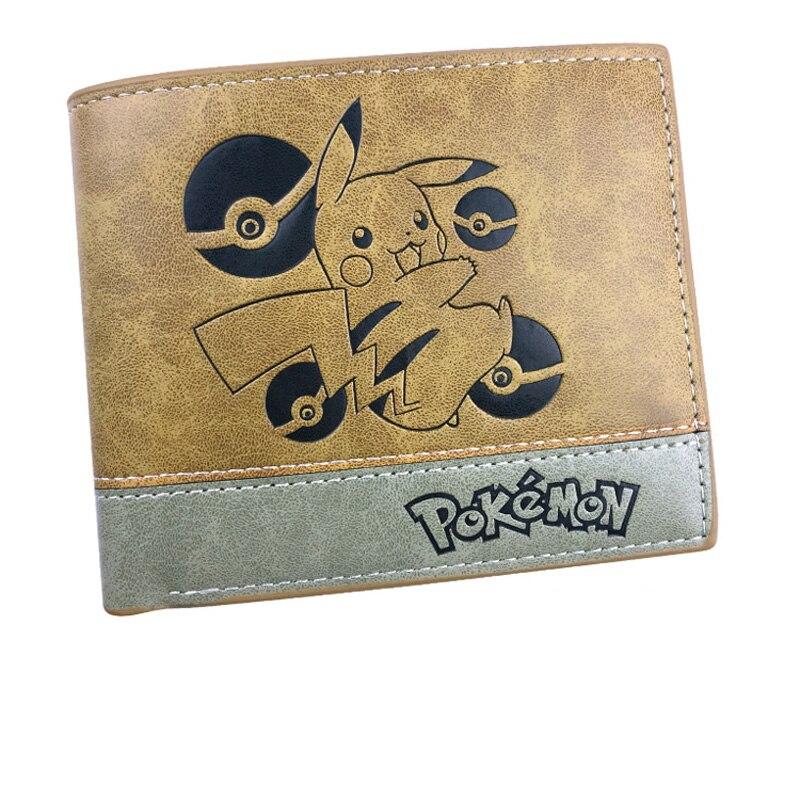 Anime monstruo de bolsillo Pikachu hombres mujeres niños niñas corta de piel Bi Fold cartera monedero dinero titular