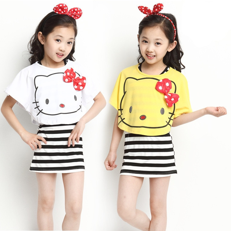 Recién llegado 2017 algodón de verano Hello Kitty gato rayas chica juego de vestidos, para altura 95-155cm