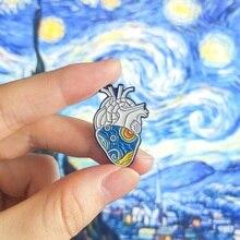 Ван Гог звездное небо анатомическая эмалированная булавка в форме сердца медицинский художественный орган броши значок с Сердцем Броши отворот булавка для мужчин и женщин