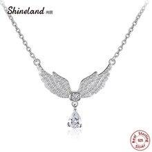 Shineland 2020 femmes collier 100% véritable 925 en argent Sterling ailes dange AAA Zircon collier ras du cou pendentifs bijoux danniversaire