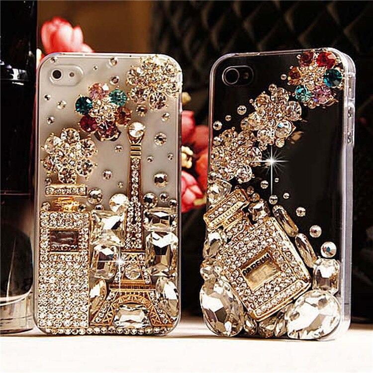 De diamantes de lujo 3D Torre Eiffel de cristal botella de Perfume fundas ostentosas para Samsung Galaxy Nota 10 Plus 10 9 8 J4 J6 más J8 2018