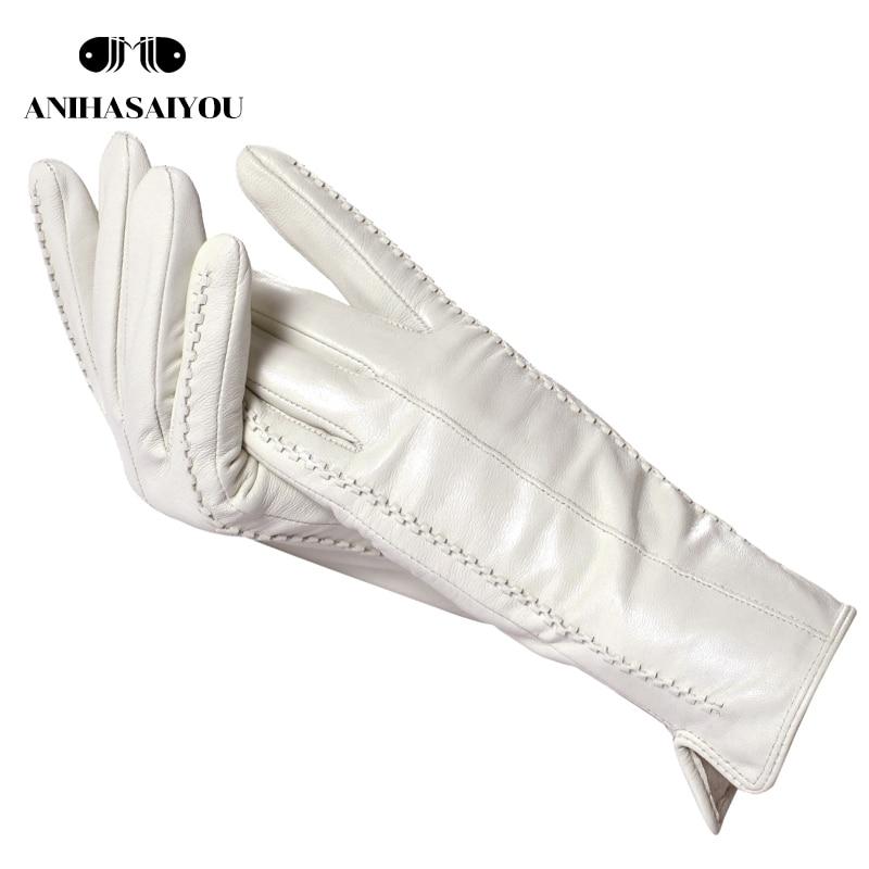 Белые кожаные женские перчатки, натуральная кожа, теплая хлопковая подкладка, Модные кожаные перчатки, кожаные перчатки теплые зимние-2226