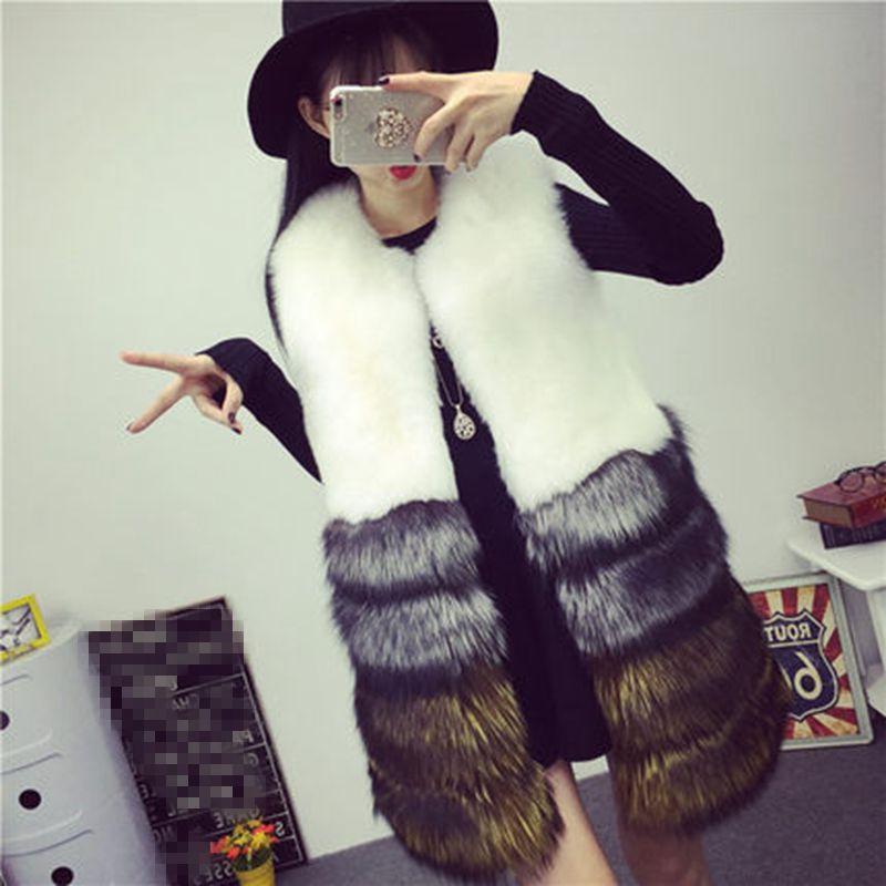 Роскошный из искусственной лисы теплые для женщин пальто жилетки Зимняя мода мех
