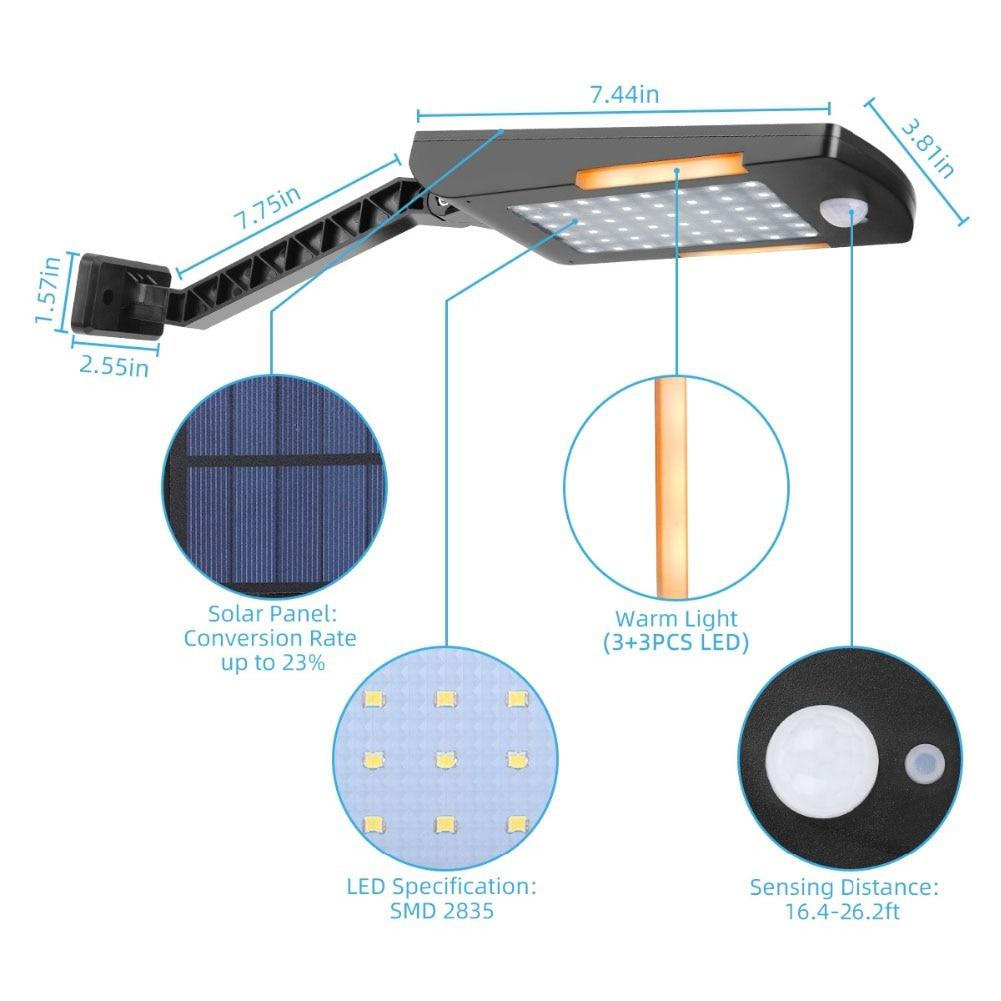 Luz de calle de seguridad pared 48 LED jardín ahorro de energía exterior Solar Patio camino súper brillante Sensor de movimiento impermeable Patio