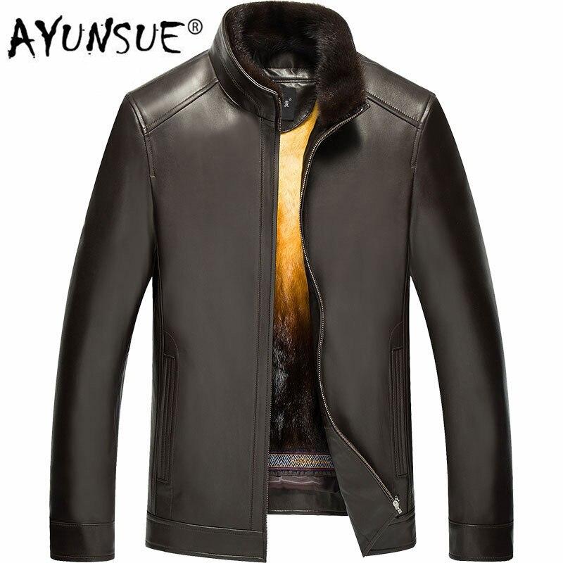 Ayunsu جلد طبيعي سترة الرجال الشتاء سترة رجالي الذهب فرو منك بطانة الدافئة حجم كبير المنك جاكيتات LN-171021 YY326
