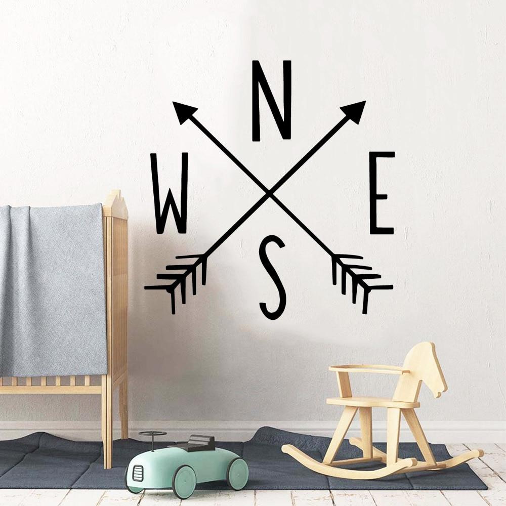 Moderno arow bússola papel de parede decoração para casa adesivo de parede pvc decalques de parede arte decoração da sua casa diy naklejki