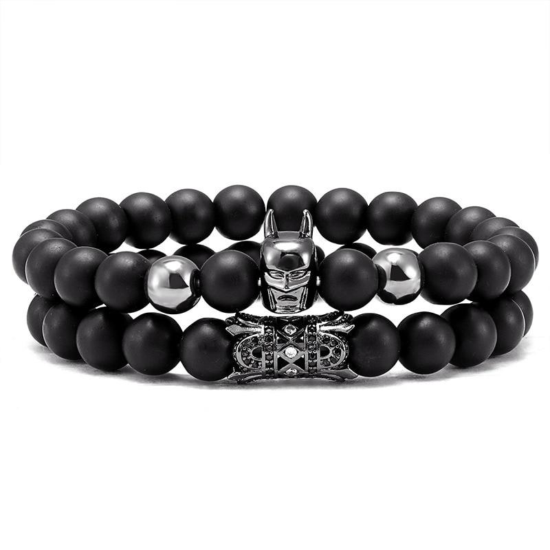 2 peças/set de nova moda batman pulseira masculina clássico moda pedra grânulo pulseira de sorte presente de jóias masculinas