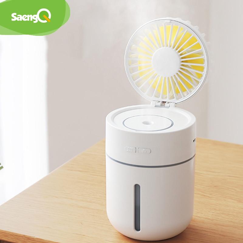 Ventilador de batería saengQ con humidificador de aire 400ML difusor de aceites esenciales USB 7 colores ventilador de mesa portátil de luz nocturna