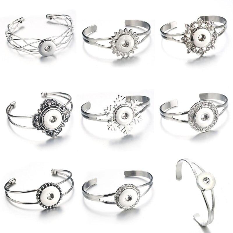 Оптовая продажа, браслет с кнопками и браслеты с кнопками, сплав, очаровательные регулируемые эластичные браслеты с манжетами, 18 мм, ювелирные изделия