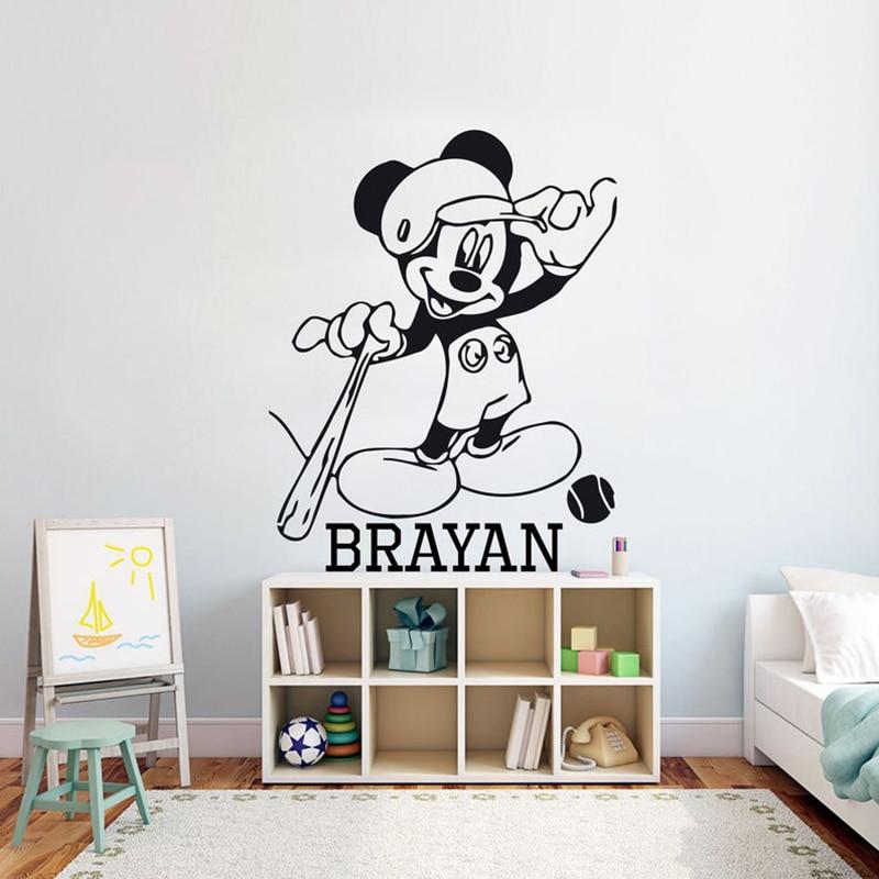 Etiqueta de la pared personalizada del nombre del aficionado al béisbol removable DIY pegatinas de la pared del vinilo de la sala de estar decoración del hogar del dormitorio G824