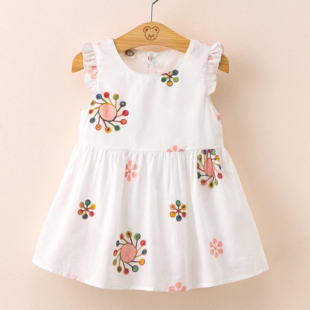 Vestido bonito para niña de 2019, vestido de princesa para el sol para verano, ropa Kawaii para niña pequeña con bordado floral de Corea