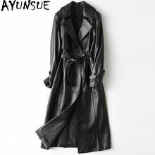 2020 femmes en cuir véritable veste longue 100% en peau de mouton manteau printemps automne coupe-vent en cuir manteau femmes HQ19-ZJF8681A KJ2777