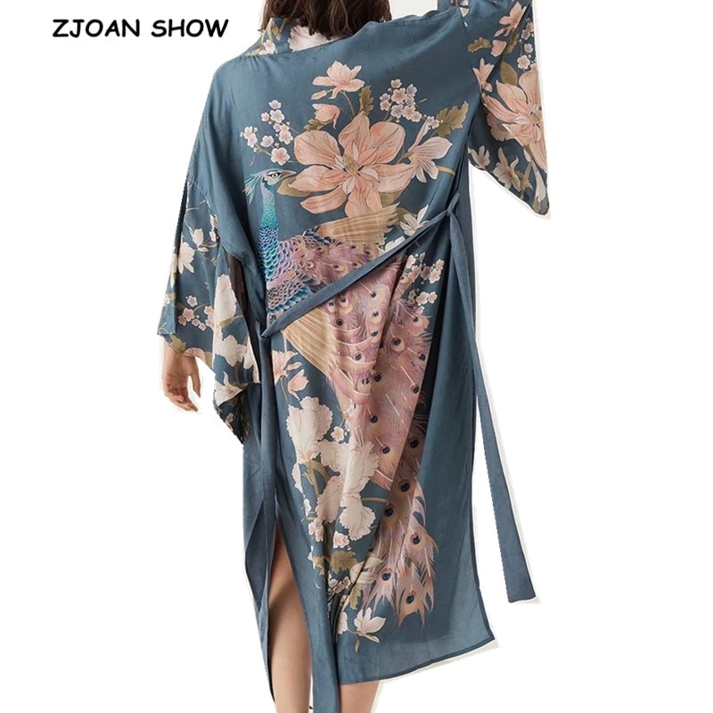 Длинное кимоно с принтом павлина и v-образным вырезом в богемном стиле, новинка 2019