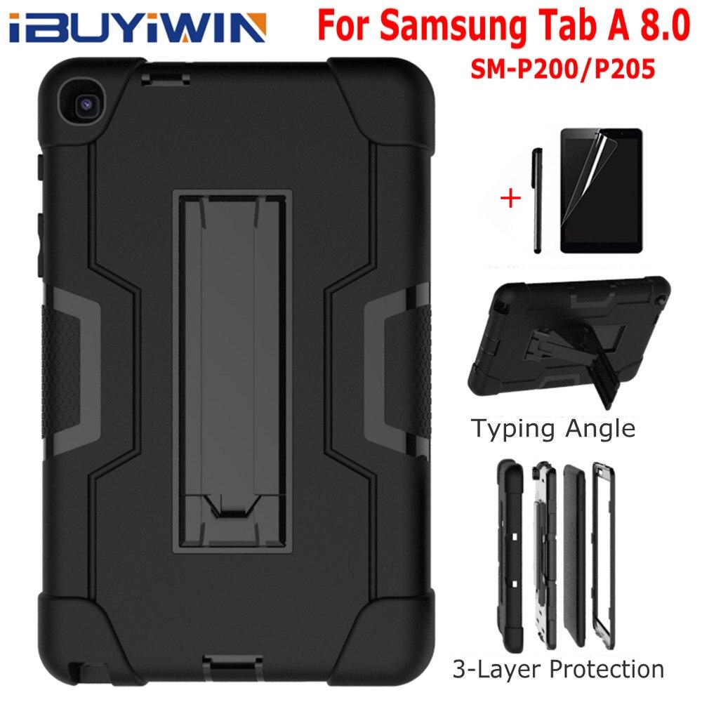 "Funda de silicona resistente A golpes Funda para Samsung Galaxy Tab A 8,0 SM-P200 P205 8,0 ""2019 Tablet Funda Capa + película de pantalla + pluma"