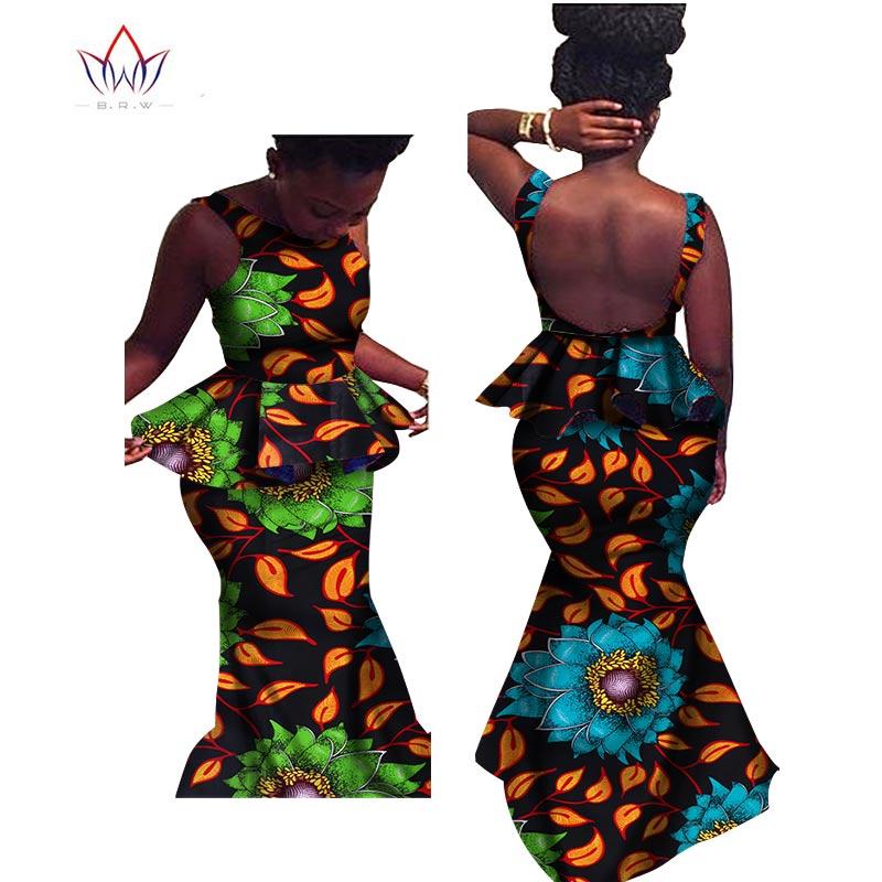 Conjunto de dos piezas ropa de mujer africana conjunto de trompeta sin mangas vestido dashiki africano vestidos longo Set para mujer BRW WY502