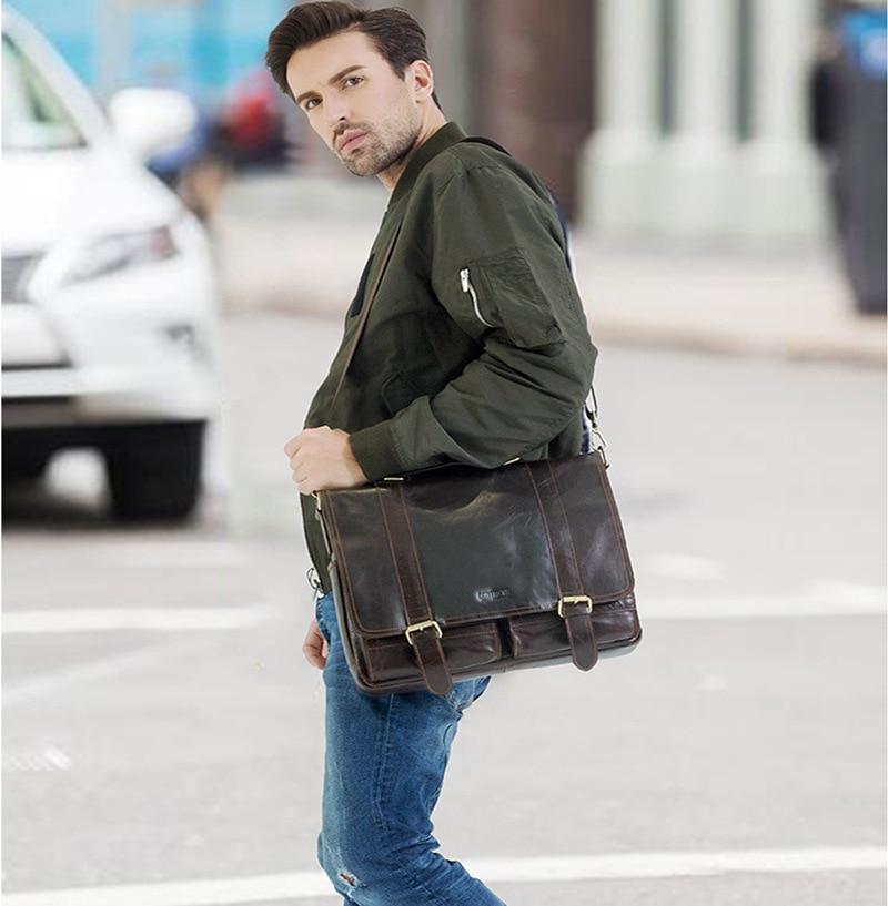 Johnature 2020 New Satchels Genuine Leather Casual Cover Versatile Shoulder & Crossbody Bags Men Handbags Business Briefcase