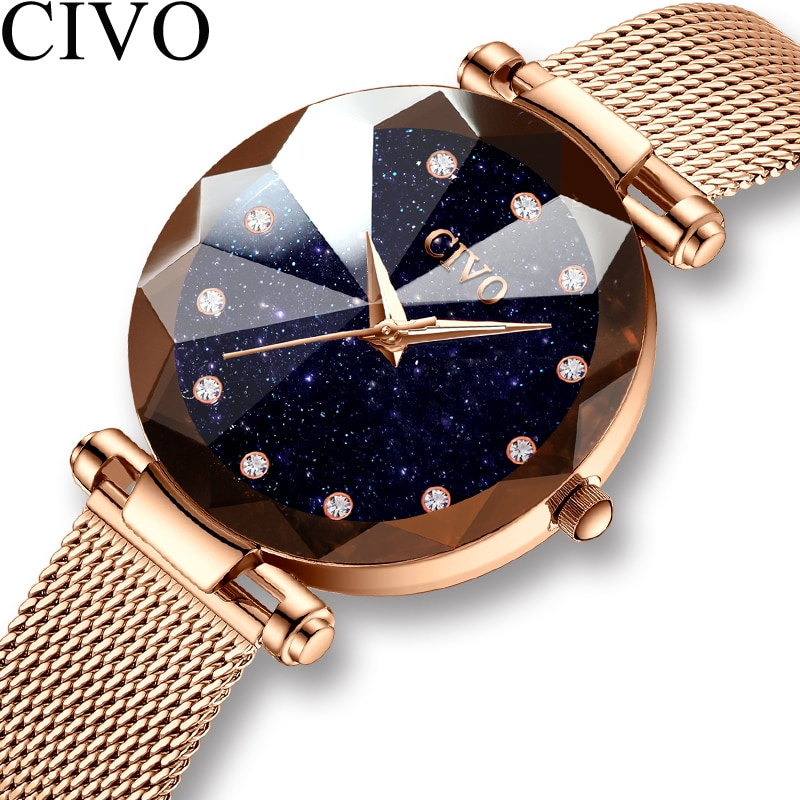 Reloj CIVO a la moda de lujo para mujer, reloj de cristal resistente al agua con malla de acero dorado, relojes de cuarzo para mujer, reloj de Marca Top, reloj femenino