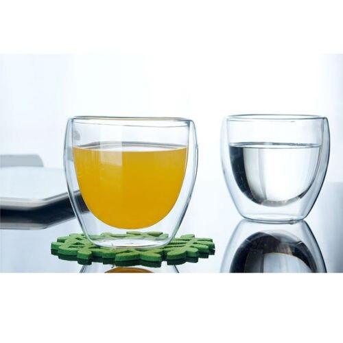 Farrot 1 Uds 150/250/350/450ML taza de vidrio de doble capa Anti quemaduras transparente resistente al calor capuchino café cerveza taza de té de la leche