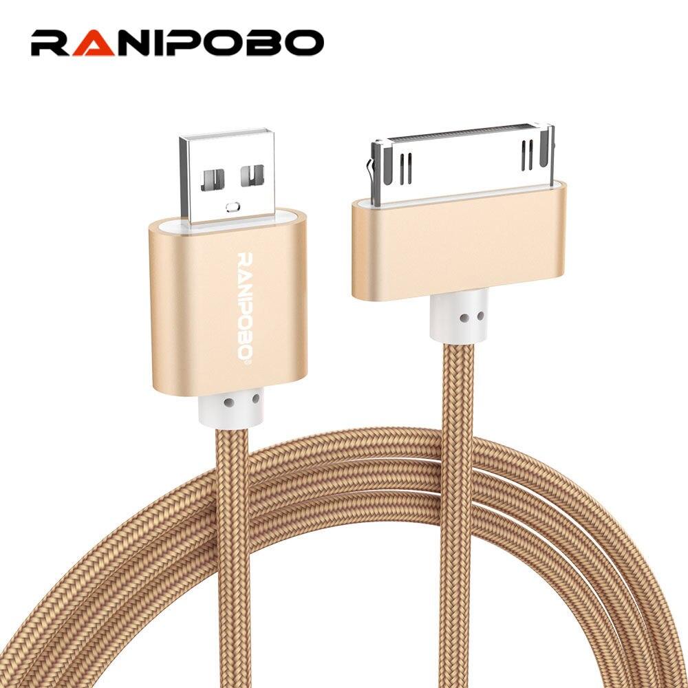 Cable USB trenzado de nailon 2A, Cable de datos de carga rápida para iPhone 4 4s 3GS iPad 2 3 iPod Nano itouch Cable adaptador de 30 pines