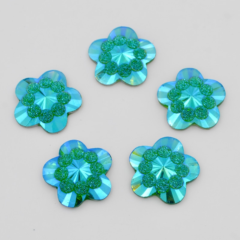 New DIY 20Pcs 20mm AB Resin Flower Flatback Rhinestone Scrapbook Wedding Buttons Fashion Clothing Accessories R091*2
