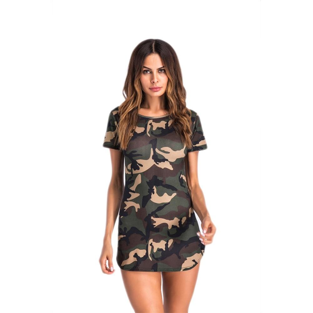 Women Print Camouflage Bodycon Dress Short Sleeve O Neck Camo Summer Dress Casual Female Ladies Sheath Mini Dresses
