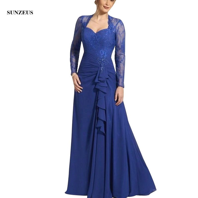 A Line See Through Long Sleeve Appliques Lace Mother of the Bride Dresses Long Chiffon Mother Gowns