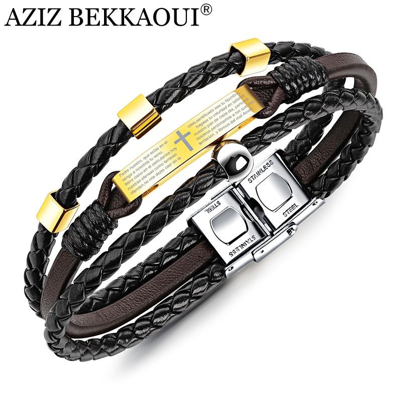 Мужской кожаный браслет AZIZ BEKKAOUI, черный браслет из нержавеющей стали с крестом и библеей, аксессуары для ювелирных изделий