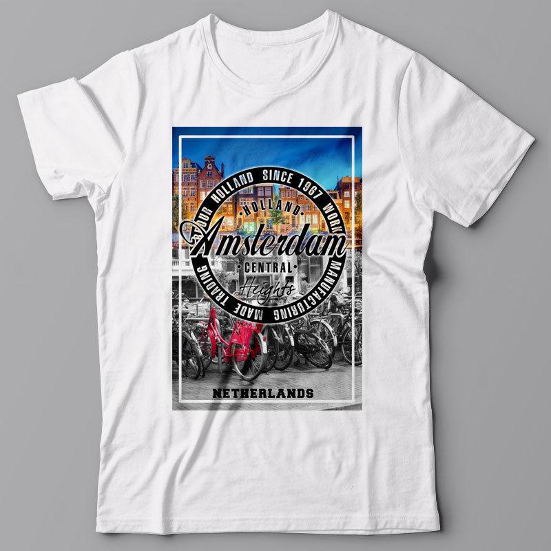 Camiseta estampada con gráfico divertido de cuello redondo amsterdam-holland, países bajos, europa,...