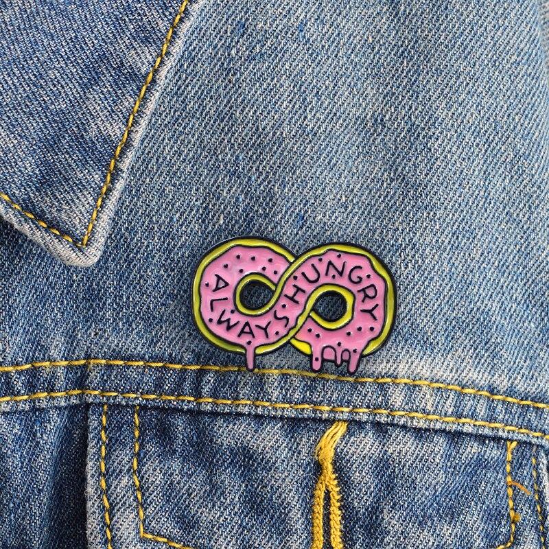 XEDZ Lucky number 8 Always Hungry Donut Brooch Delicious Dessert Doughnut Cartoon Symbol Badge Denim Shirt Lapel Enamel Pin Kids