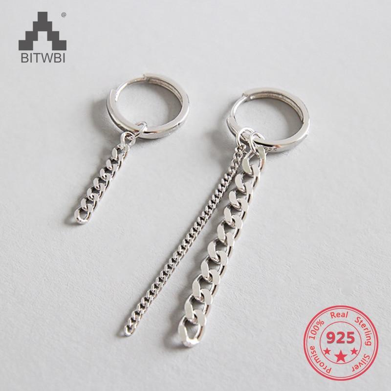 Authentic 925 Sterling Silver Jewelry Asymmetric Wide Flat Chain Earrings for Women