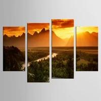 4 panelsset unframed sunset mountain beautiful landscape painting hd printings living room decor modern modular picture
