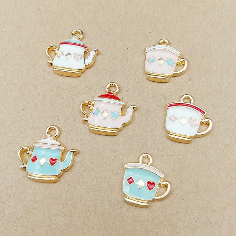 10 uds, tetera y taza de té, amuleto esmaltado para hacer joyería, pendiente de moda, colgante, pulsera, dijes