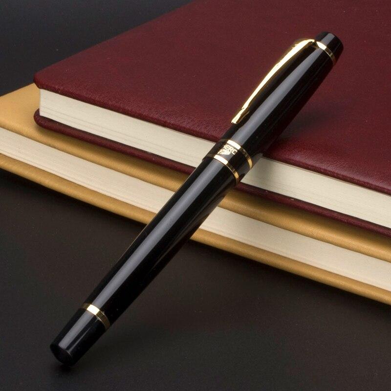 Pluma estilográfica dorada de lujo HERO de 0,5mm bolígrafos de regalo de negocios de alta calidad con caja de regalo suministros de oficina